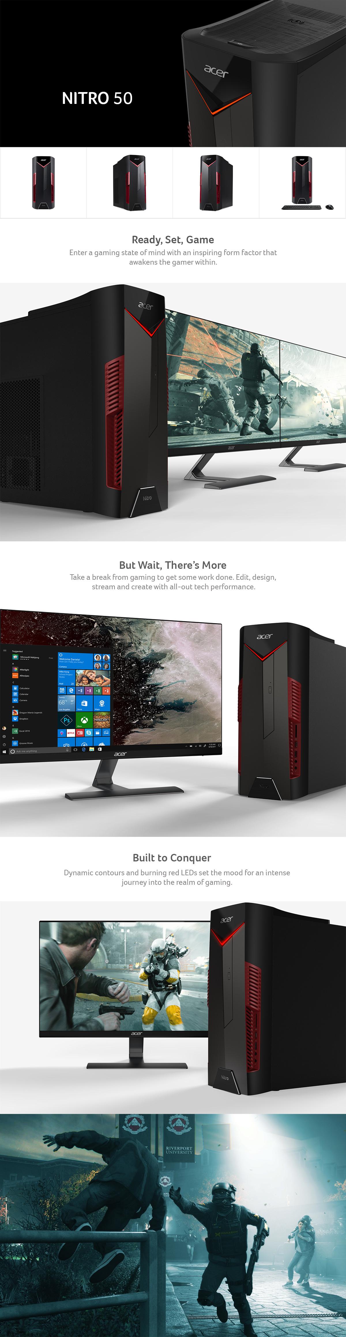 Acer Nitro 50 - Desktop Intel i7-8700 3 20GHz - NVIDIA GeForce GTX 1060 6GB  - 8GB Ram 1TB HDD Windows 10 Home | N50-600-UR14