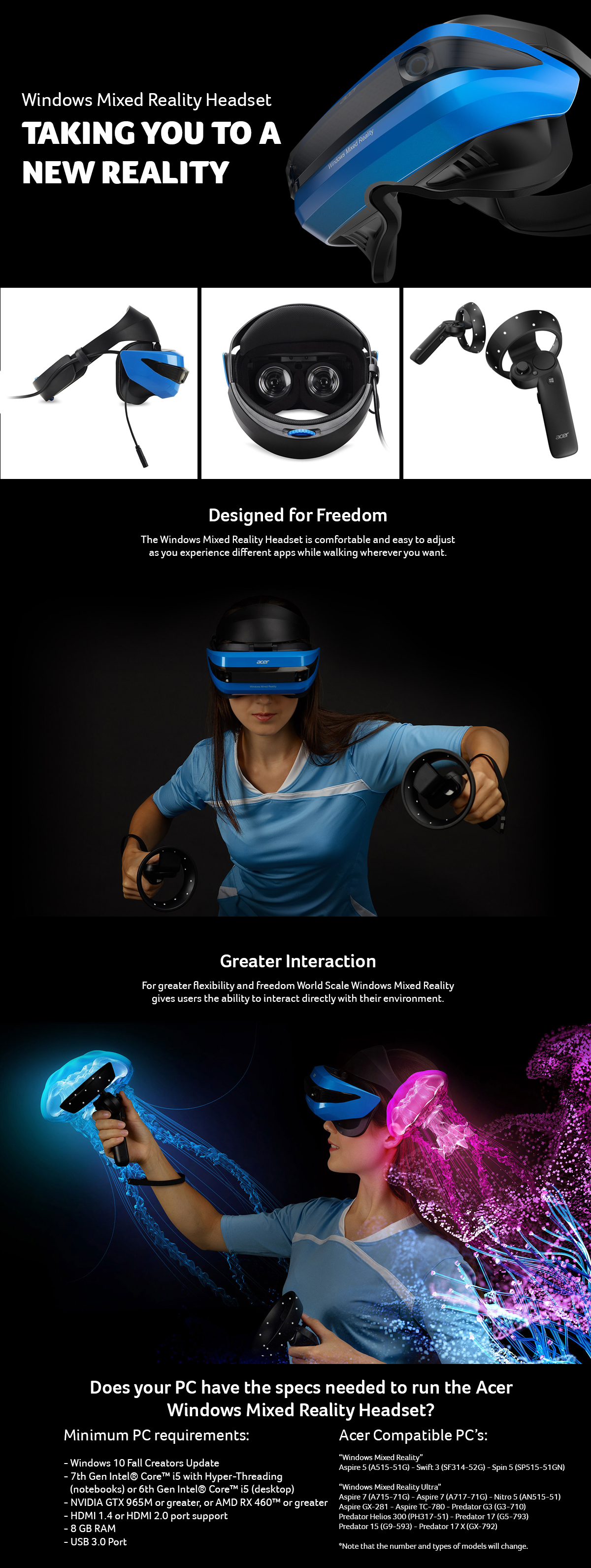 Details about Acer Windows Mixed Reality Headset & Controllers